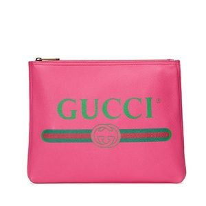 Gucci Pink Leather Zip Clutch Pouch Bag